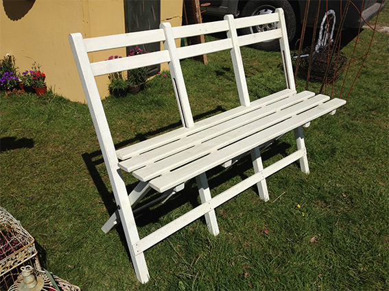 4' White Bench